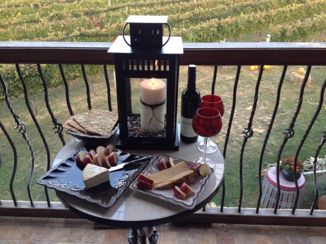 A day full of exploring and wine tasting ends with a wine and cheese dinner on the terrace overlooking the vineyard.