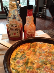 ... my sister and I like our frittata with lots of condiments.