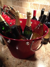 Of course, champagne on ice in the jingle bell bucket...