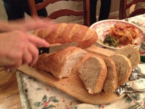 …action shot… what's an Italian meal without bread...