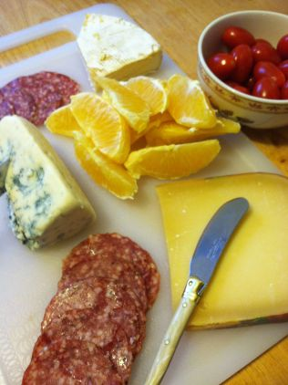 Get started with a cheese and meat board...